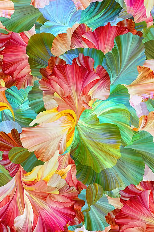 Floral Fantasia Painted Iris Digital Print Fabric Digital Flowers Digital Print Fabric Colorful Wallpaper