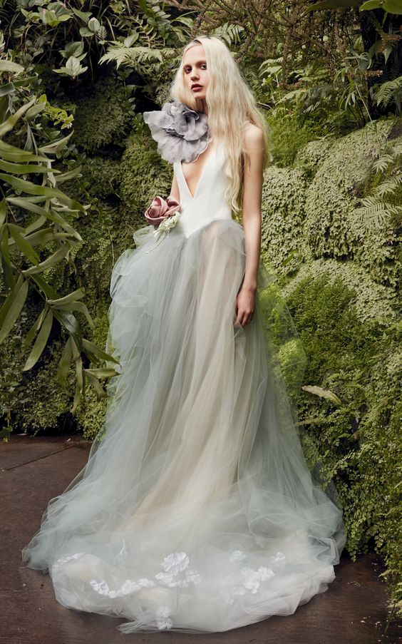 Larkspur V-Neck Crepe Gown With Tulle Skirt by VERA WANG for Preorder on Moda Operandi
