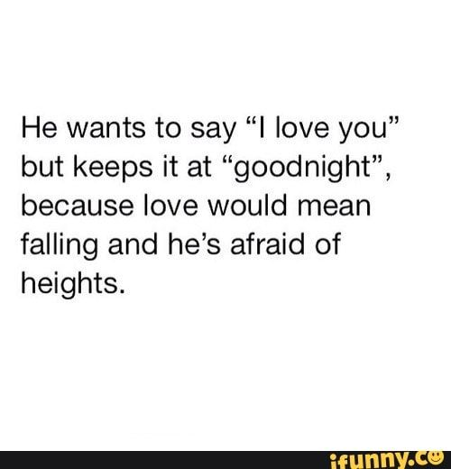 He Wants To Say I Love You But Keeps It At Goodnight Because Love Would Mean Falling And He S Afraid Of Heights Ifunny Afraid To Love Quotes Loving