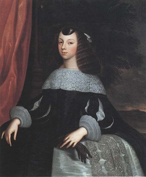 CATHERINE OF BRAGANZA (b.1638-d.1705). QUEEN CONSORT OF CHARLES II (though technically she was never crowned) from 21st May, 1662 until her husband's death on the 6th of February, 1685. HOUSE OF STUART. PICTURE: Catherine of Braganza, c.1660-61. After Dirk Stoop. National Portrait Gallery, London.