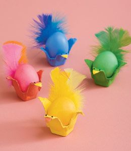 Chicks - Egg carton, feathers, dyed eggs