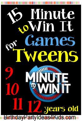 Tween Minute To Win It Games