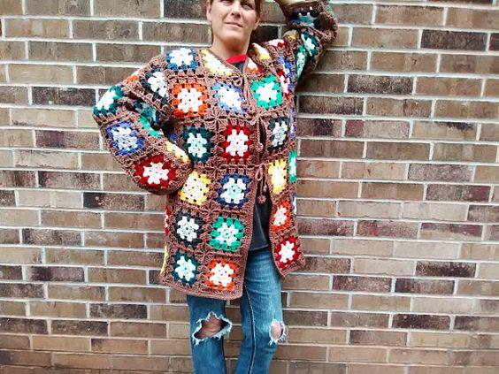 Granny Square Sweater/Coat Multi-Color