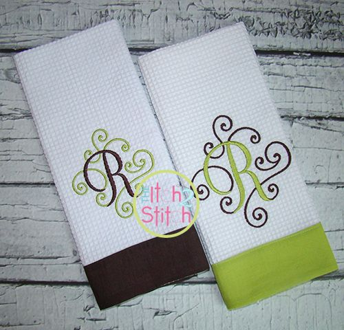 Elegant scroll two color monogram embroidery fonts