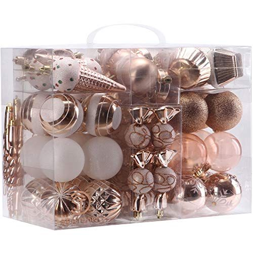 Christmas Decorations Sea Team 80 Pack Assorted Shatterproof Christmas Ball Ornamen Rose Gold Christmas Gold Christmas Decorations Pink Christmas Decorations