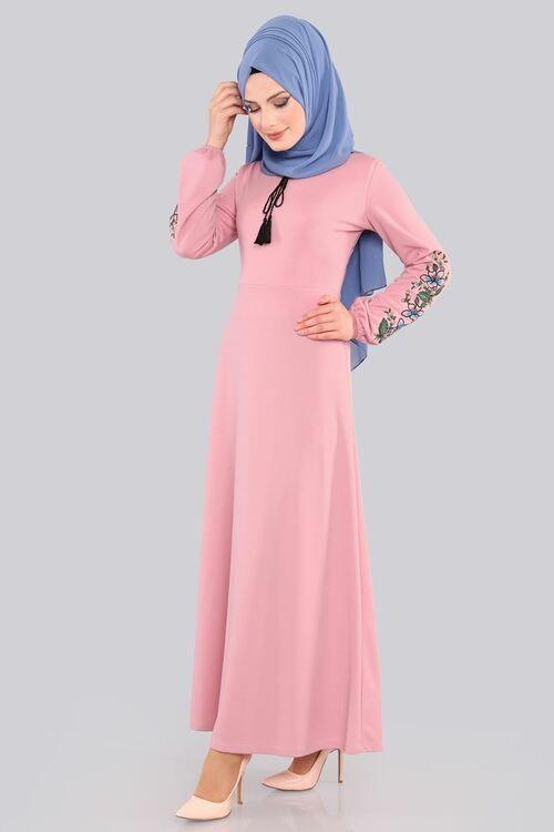Modaselvim 49 Tl Kollari Nakisli Elbise Ukb3006 S Pudra Dresses Fashion Hijab