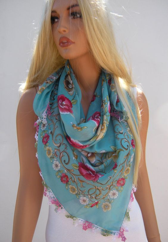 Anatolian Silk blend Gauze Scarf Square scarf floral  Neck scarf  Head scarf  Dusty Jade with Pink and yellow flowers on Etsy, $22.00