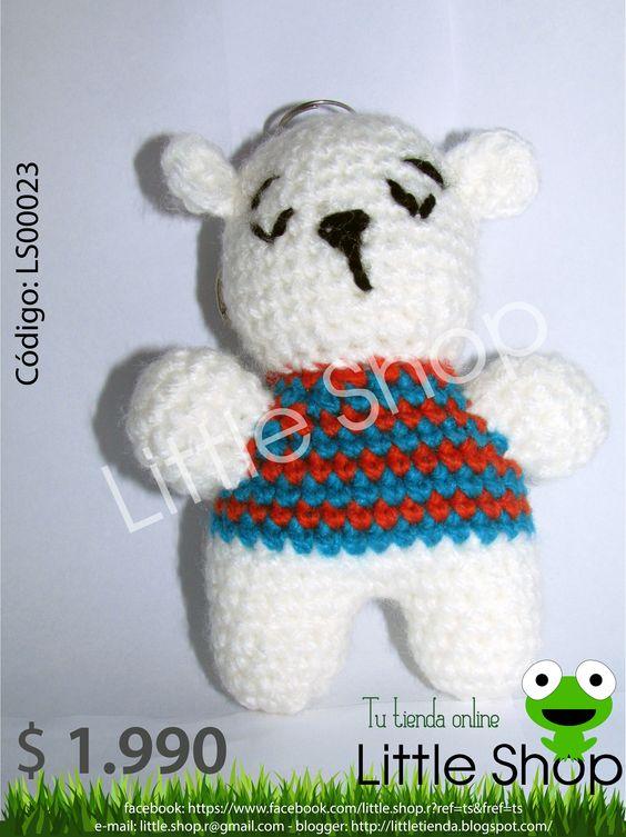 Lindo osito para colgar en mochila o bolso. Especificaciones: •Tejido a crochet, hecho a mano. •Material: Lana y algodón. •Color: blanco, calipso y naranja. •Dimensiones: 14x10,5 cm.