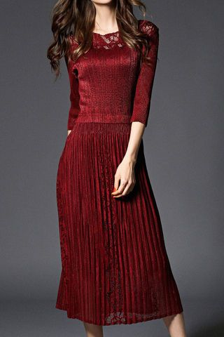 Burgundy Half Sleeves Pintuck Dress
