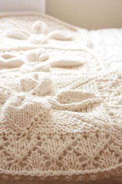 knitted throw большие мягкие цветы