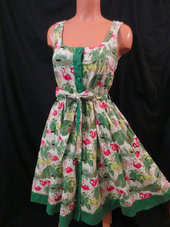 PINK FLAMINGO DRESS Divided H&ampM 6 S full skirt ROCKABILLY retro ...