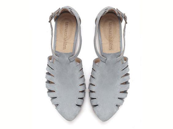 Alice, Light Blue shoes, Flats, Leather Sandals - TamarShalem