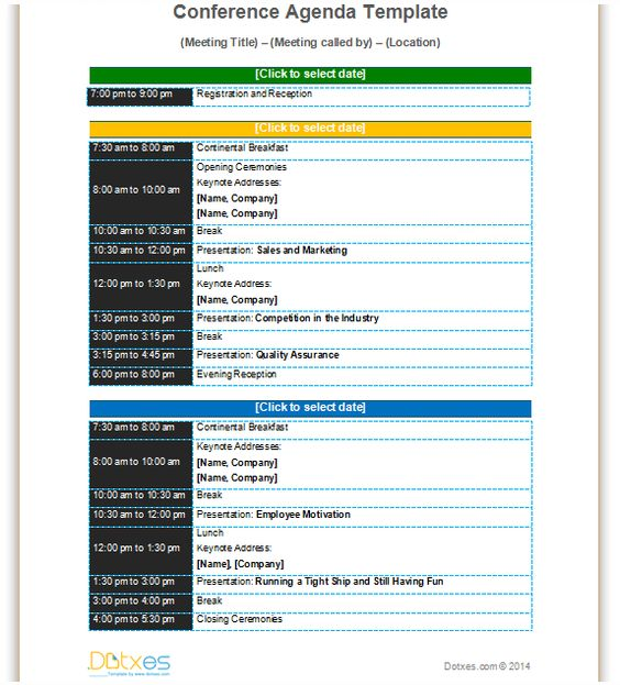 Conference meeting agenda template with color format to improve - example of agenda for a meeting