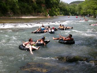 No place i'd rather be than tubing on the Guadalupe River in Texas.