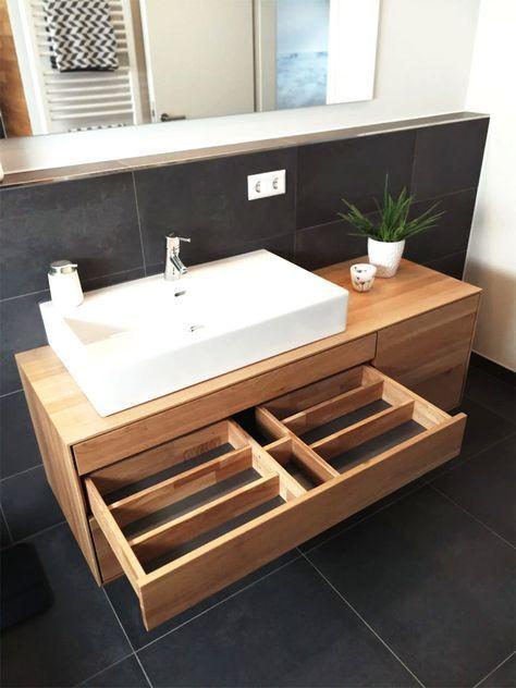 Vanity Unit Made Of Wood Modern Solid Oak Vanity Unit