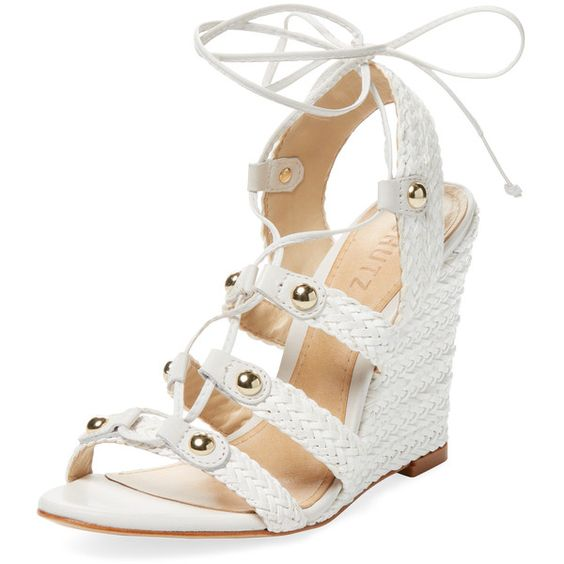 Schutz Women's Jayne Lace-Up Wedge Sandal - Cream/Tan - Size 7 ($119) ❤ liked on Polyvore featuring shoes, sandals, tan sandals, leather lace up sandals, wedges shoes, woven leather sandals and leather shoes