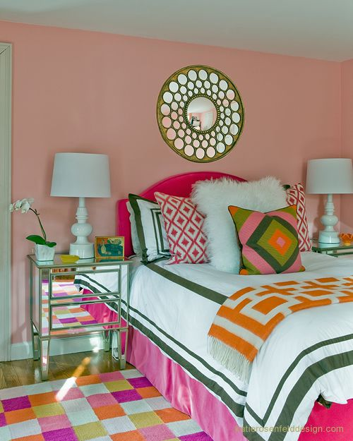 sadie. Katie Rosenfeld Design: Contemporary, eclectic tween girl's bedroom with pink walls paint color and colorful ...