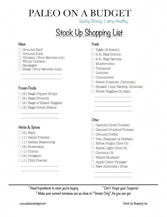 Paleo on a Budget -- Stock up and Weekly shopping lists included.
