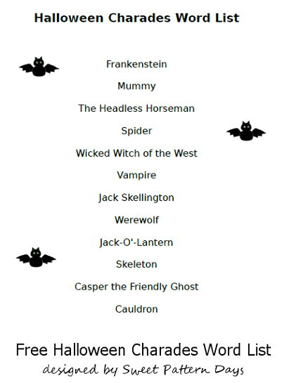 photo relating to Halloween Charades Printable identified as Charades Guidelines