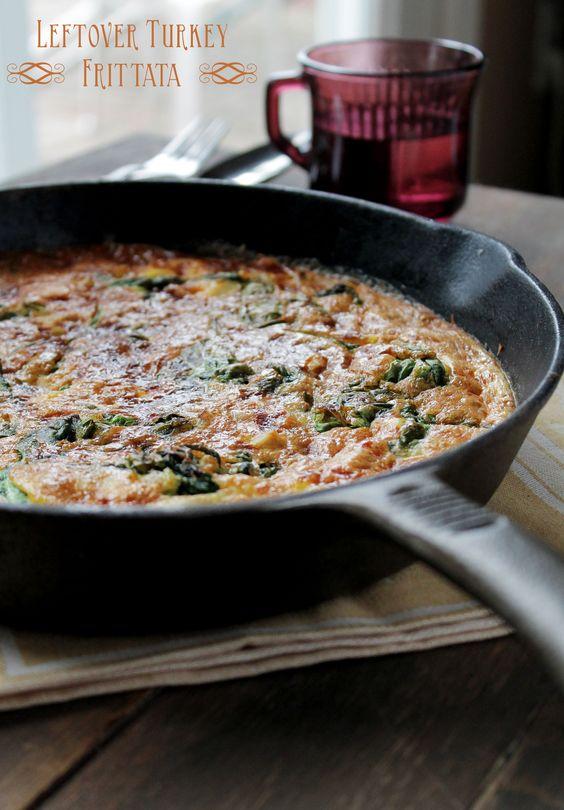 (leftover) Turkey Frittata with Spinach and Mozzarella Cheeseta