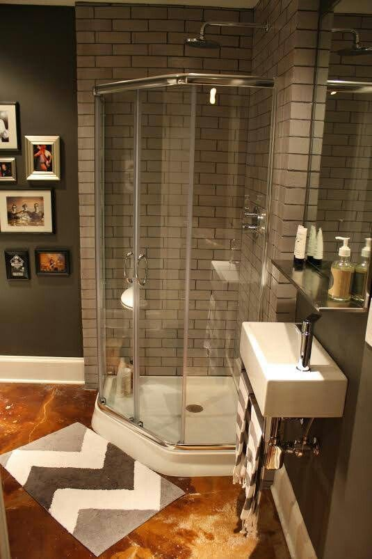 Basements grey tiles and the grey on pinterest - Small basement bathroom designs ...