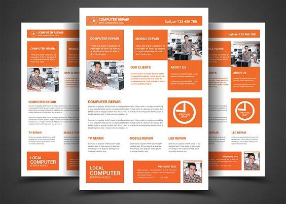 Company IT flyer by buttonpl on @creativemarket Awesome Flyer - computer repair flyer template