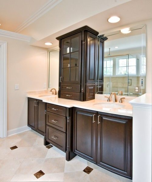 Vanity Mirror With Recessed Lights : Double vanity separated with counter top linen. Soffit with pot lights. Consider how the lights ...