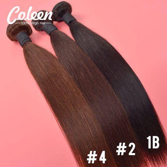 Coleen Haar-produkte 7A Brasilianische Reine Haar Gerade 3 Bundles Dark Und Hellbraun Brasilianisches Gerades Haar Menschliche Haarbündel