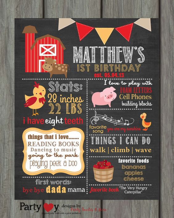 First Birthday Chalkboard Poster First by PartyInvitesAndMore, $20.00