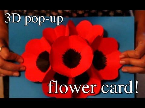 How to make a 3D pop-up flower card for a special someone - YouTube. I made this card and it worked. I did have to stop and start the video  several times.