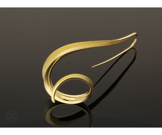 Thomas Garcia-Greno Earring Eda gold 750 Anticlastic artwork Germany, Handmade