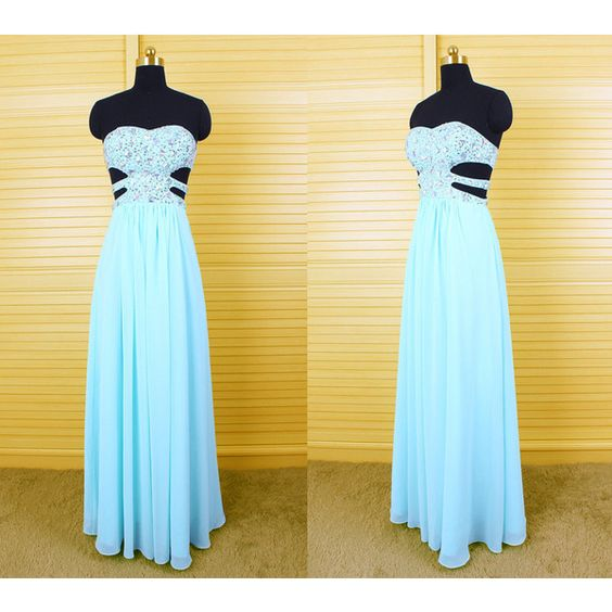 Stunning Light Sky Blue Sweetheart Long Beaded Chiffon Prom Dress Key... ($139) ❤ liked on Polyvore featuring dresses, silver, women's clothing, short blue dresses, chiffon prom dresses, beaded cocktail dress, prom dresses and long blue dress