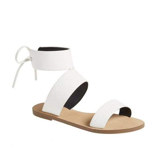 Rebecca Minkoff 'Emma' Ankle Cuff Sandal (£105) ❤ liked on Polyvore featuring shoes, sandals, white snake embossed, tie shoes, white ankle strap shoes, white sandals, rebecca minkoff shoes and tie sandals