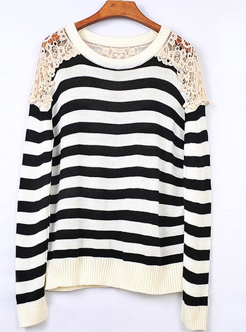 Striped Round Neck Black Sweater with Lace