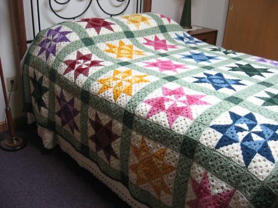 "I made this crocheted afghan quilt to use up my left over yarn. I crochet using an adaptive technique due to my blindness/severe low vision. To learn more about my crochet and loom knitting club, please visit: http://www.sjamusic.org/crochethome.html  The pattern for the quit is on the website.  Click on ""Patterns.""  The ""Crochet Quilt Patterns"" is the first choice.  Please consider making a donation to hep us purchase Addi Express Knitting Machines."
