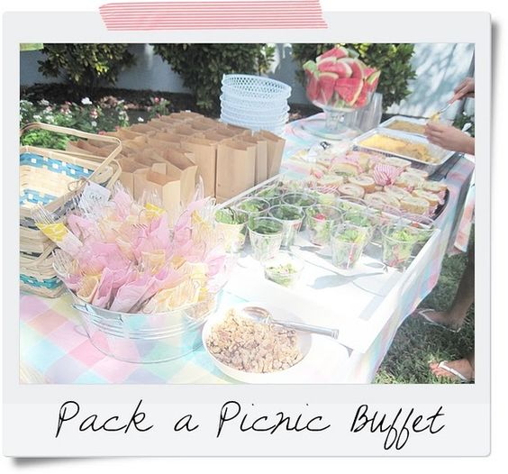 Picnic party food - like the individual cup idea for salads, fruit salad?: Summer Picnic, Picnic Ideas, Picnic Buffet, Picnic Parties, Party Ideas, Party Food, Picnic Party, Birthday Party