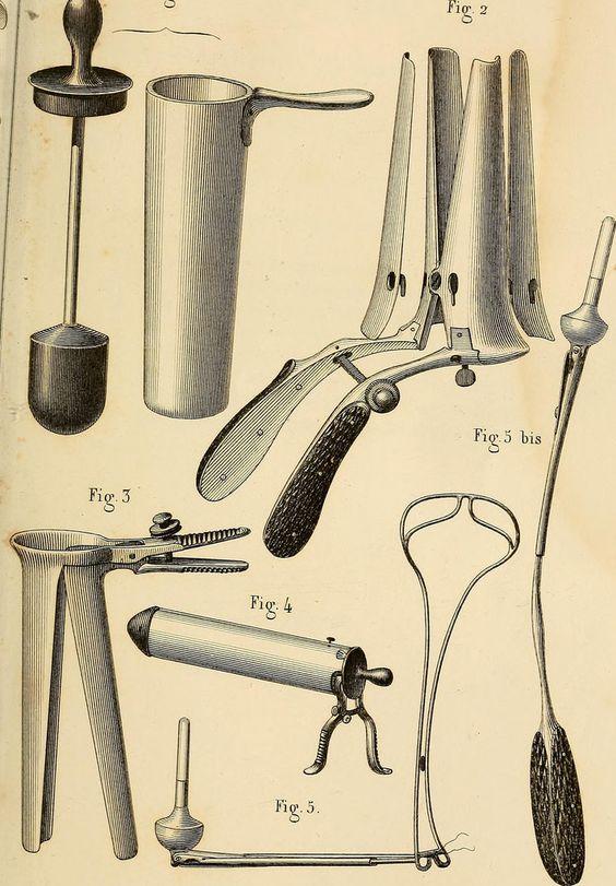 Précis iconographique de médecine opératoire et d'anatomie chirurgicale,1854, Bernard, Cl. (https://www.pinterest.com/pin/287386019945557319), Huette, Ch. PI. XXIII. INSTRUMENTS POUR LES MALADIES DES FEMMES. 1. Aiguille de M. Vidal (de Cassis) pour la suture du périnée. 2. Aiguille de M. Roux, même usage. 3. Lame plate de M. Jobert pour déprimer les parois latérales du vagin. 4. Dépresseur à une valve coudée pour la partie postérieure du vagin. 5. Bistouris convexes et pointus pour aviver.