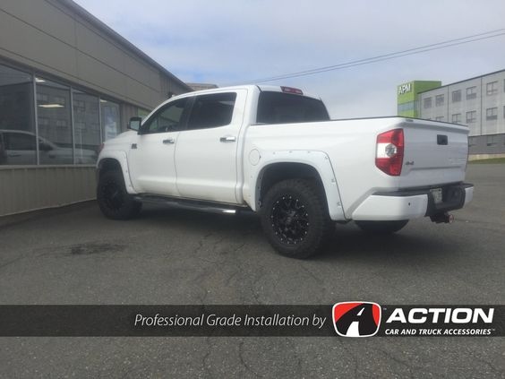 "2015 Toyota Tundra - Leveling kit by ReadyLift Suspension Inc. - 18"" Mayhem Warrior wheels in Matte Black - Goodyear Duratrac tires - Painted to match fender flares by Bushwacker - Flex tonneau cover by UnderCover Tonneau Covers"