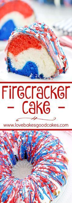 Show your patriotism with this Firecracker Cake! The red, white, and blue runs inside and out!! Great for Memorial Day, the 4th of July or any occasion you want to share a little American pride!: