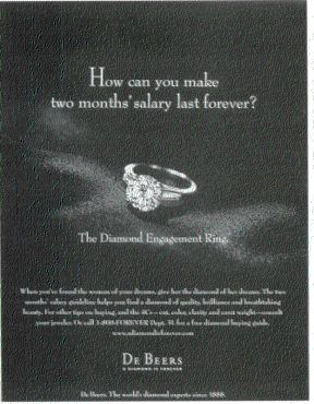 de beers a diamond is forever The iconic tagline 'a diamond is forever' was written by copywriter frances  gerety at philadelphia agency nw ayer in 1947 at the time, de.