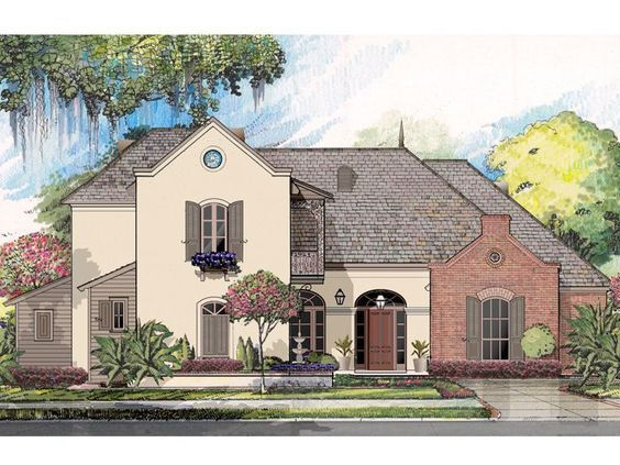 079h 0014 Elegant Two Story House Plan With European Flair French Country House Plans French House Plans Acadian House Plans