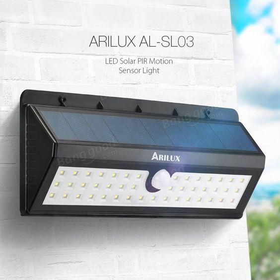ARILUX™ AL-SL03 Solar Powered 44 LED PIR Motion Sensor Light Outdoor Waterproof IP65 Wall Lamp Sale - Banggood.com
