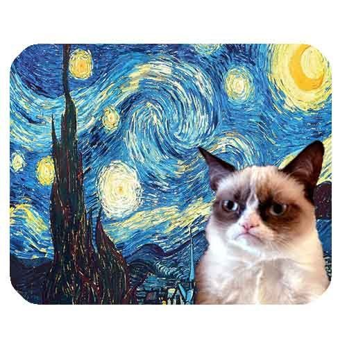 "Premium Quality (Mousepads) Grumpy Cat Colorful Vincent Van Gogh The Starry Night Artwork On 1/4"" Super Thick Non Skid Rubber Mouse Pad With Polyester top by S & S Accessories(TM) S and S Accessories(TM) http://www.amazon.com/dp/B00SFCWM1A/ref=cm_sw_r_pi_dp_6Je4ub1Q7R48S"