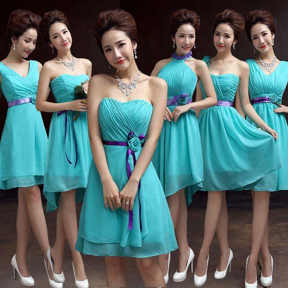 Cheap Teal dama de honor gasa azul turquesa vestido para bodas vestido de dama…