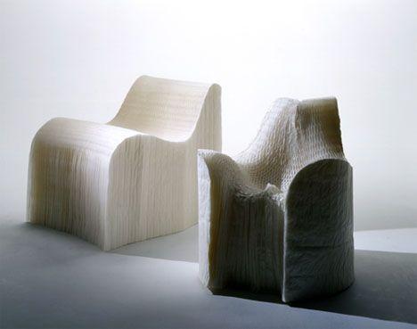 Creative paper chair design.