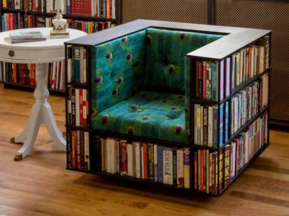 The Bookcase Chair includes 27 feet of shelf space for all your favorite books, movies, and video games! The chair is on rolling castors for easy movement.: