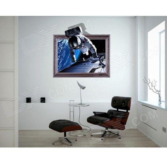Autocolante de Parede Decorativo com Astronautas 3D - Safira e Prata