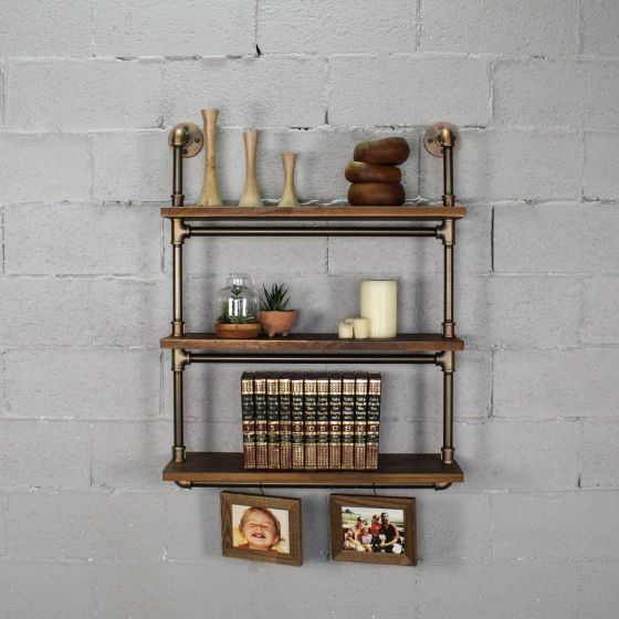 Industrial 3 Tiered Wall Mounted Multipurpose Shelf 39 H X 30 W X 10 D Solid Wood Shelves And Metal Finish Pipes Solid Wood Shelves Wood Shelves Solid Wood
