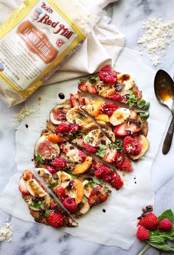 Healthy Grain-Free Dessert Pizza (Dairy Free too!) via Nutritionist in the Kitch: