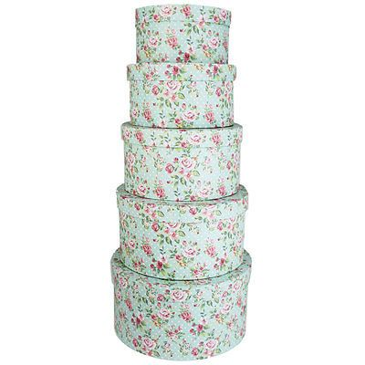 #Round storage #boxes set of 5 / like hat #boxes / #shabby chic / vintage rose pri,  View more on the LINK: 	http://www.zeppy.io/product/gb/2/131740537300/